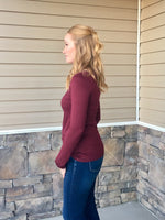 LONG SLEEVE BASIC TEE - DARK BURGUNDY