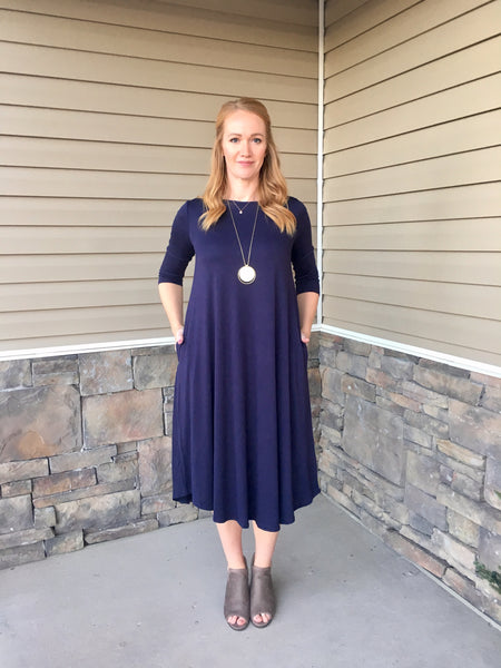 SAMMI SWING DRESS  - NAVY