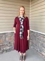 SAMMI SWING DRESS  - DARK BURGUNDY
