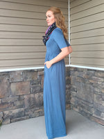 MILA MAXI DRESS  - DUSTY BLUE