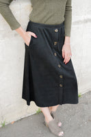 LYNN BUTTON MIDI SKIRT - BLACK