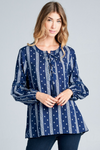 EVERLY BOHO TOP - NAVY