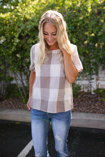 CASSIDY BUTTON BACK TOP - TAUPE
