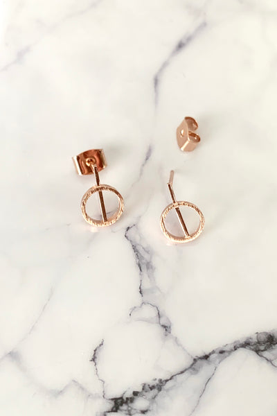 DAINTY CIRCLE STUD EARRINGS - ROSE GOLD