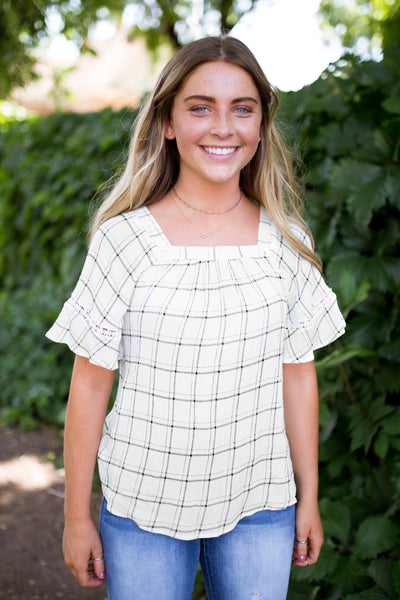 PIERCE PLAID TOP - IVORY