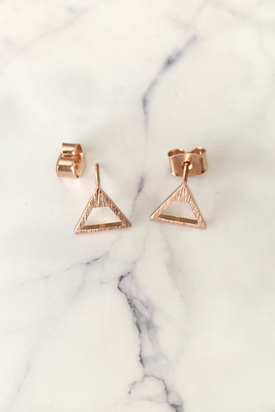DAINTY TRIANGULAR STUD - ROSE GOLD