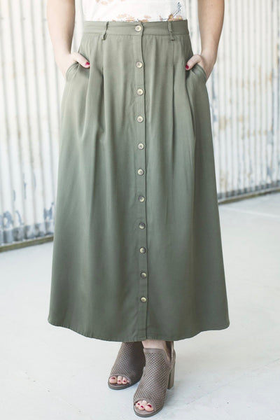 HAVEN BUTTON DOWN LONG SKIRT - OLIVE