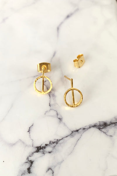 DAINTY CIRCLE STUD EARRINGS - GOLD