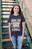 ROCK N ROLL CHEETAH GRAPHIC TEE - VINTAGE BLACK