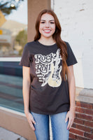 ROCK N' ROLL GUITAR GRAPHIC TEE - VINTAGE BLACK