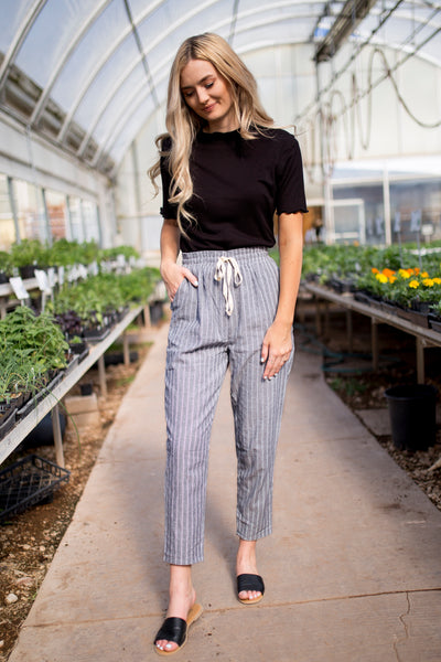 MELANIE STRIPED PANTS - GRAY