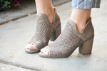 LASER CUT OPEN TOE BOOTIES - TAUPE