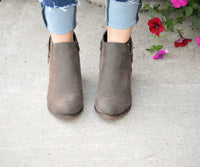 SIDE ZIP ANKLE BOOTIES - DARK TAUPE