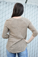 LOLA STRIPED ROLL TAB TOP - MOCHA