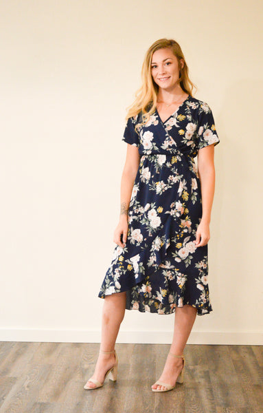 RUBY FLORAL WRAP MIDI DRESS - NAVY