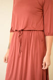 NOVA DRAWSTRING MIDI DRESS - RUST