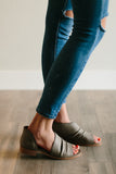 GATHERED ASYMMETRICAL SANDAL - GREY