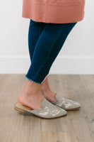 STUDDED EMBROIDERED MULE - SAGE