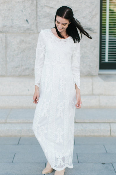 SPECIAL OCCASION LINED MAXI DRESS - WHITE