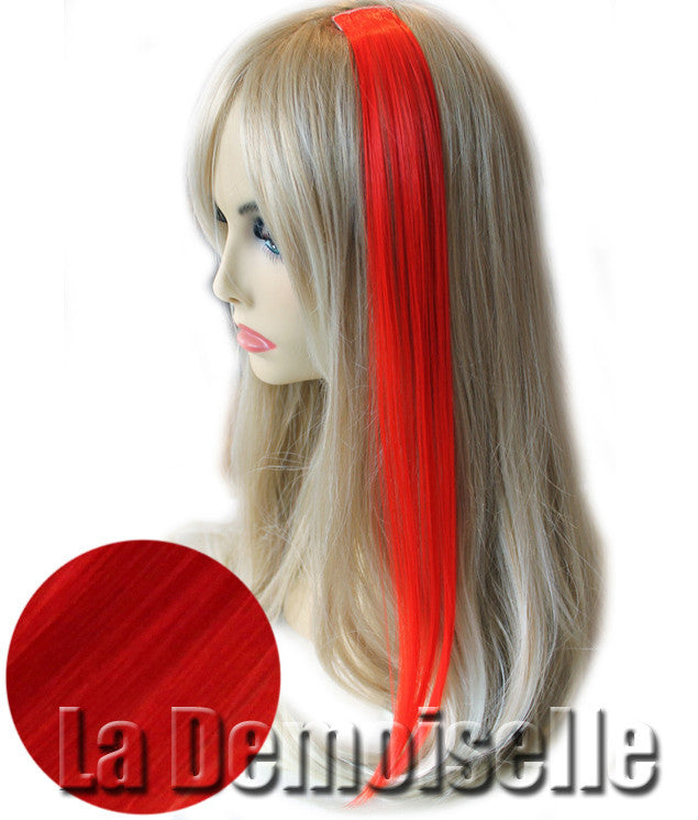 Clip In Straight Synthetic Hair Extensions Bright Red Splash Of