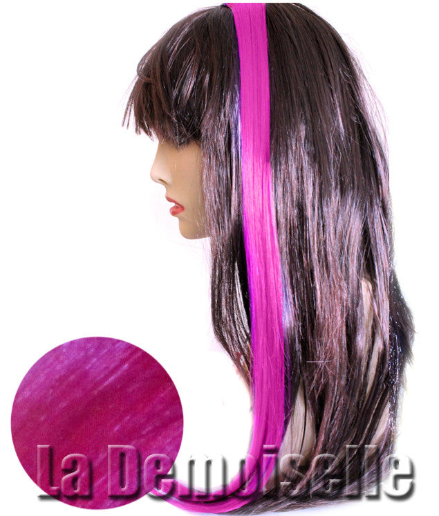 22 Clip In Straight Synthetic Hair Extensions Magenta Splash Of