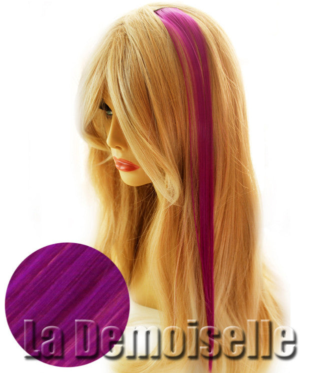 20 Clip In Straight Synthetic Hair Extensions Mardi Gras Purple