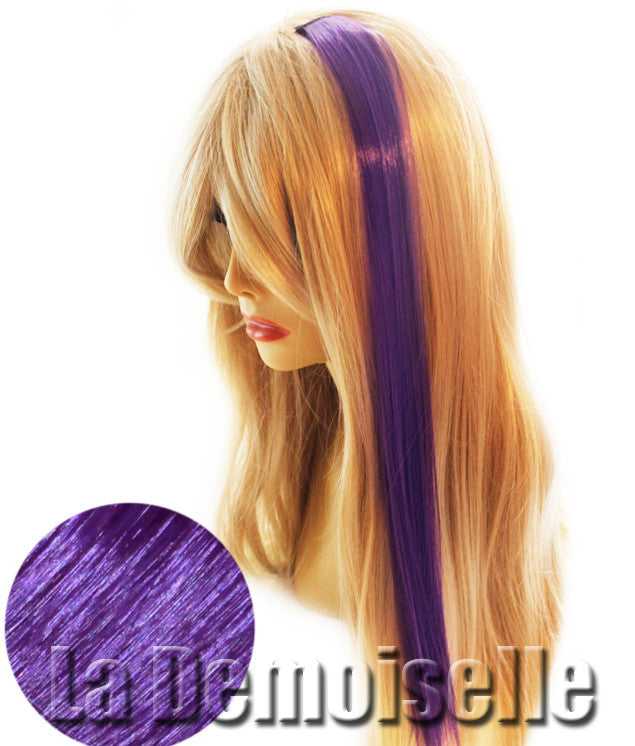 20 Clip In Straight Synthetic Hair Extensions Purple Splash Of