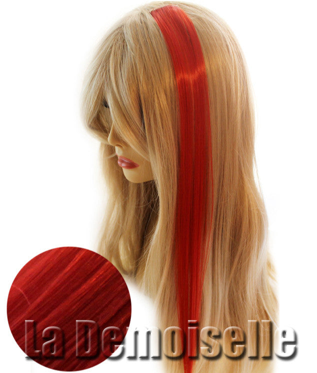 20 Clip In Straight Synthetic Hair Extensions Deep Red Splash Of