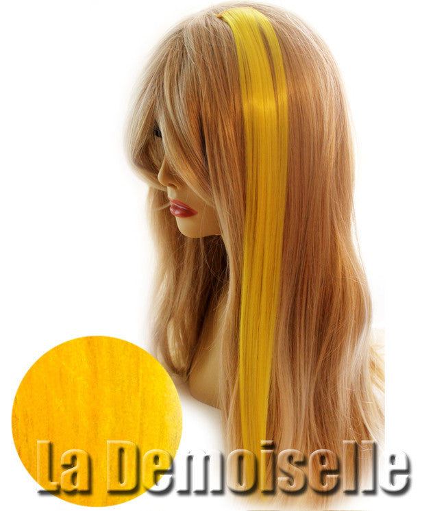 Clip In Straight Synthetic Hair Extensions Yellow Splash Of Fantasy