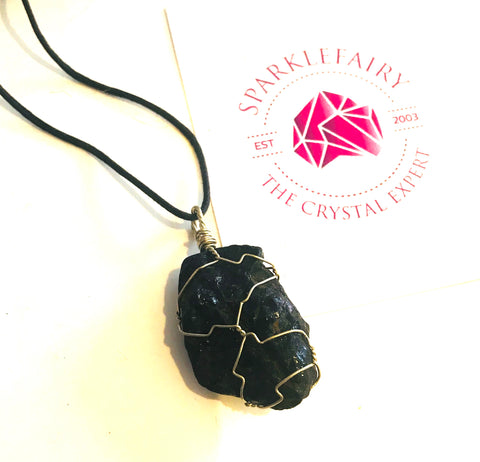 Protection Black Tourmaline hand wrap pendant