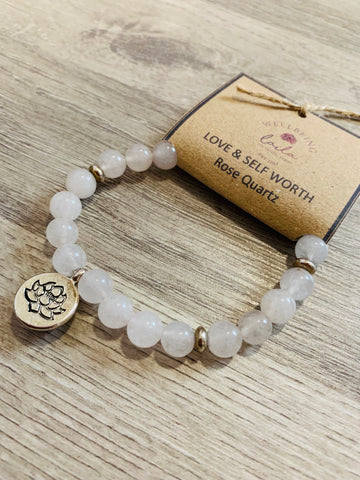 Rose Quartz Bracelet silver Lotus