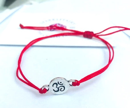 Yoga Om Red String Bracelet