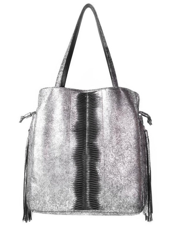 Designer Tote Bag in Cracked Metallic and Black by Lilla Lane