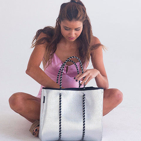The Sterling Prene Bag - Silver with Black Interior