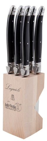 PRE-ORDER Laguiole Debutant 6pc Serrated Knives Set - Black