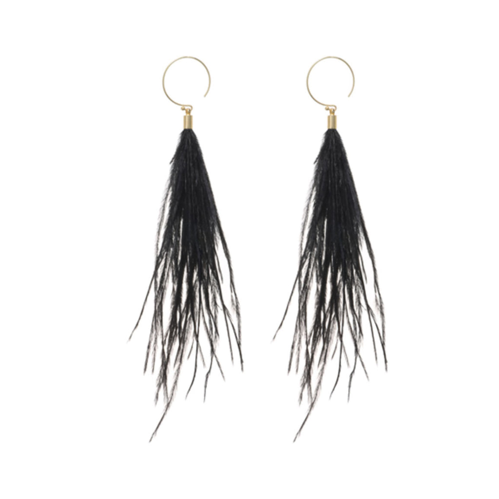 Black Feather Hoop Earrings