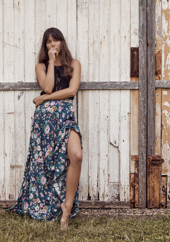 Spring Rose Wylde Maxi Skirt - Navy