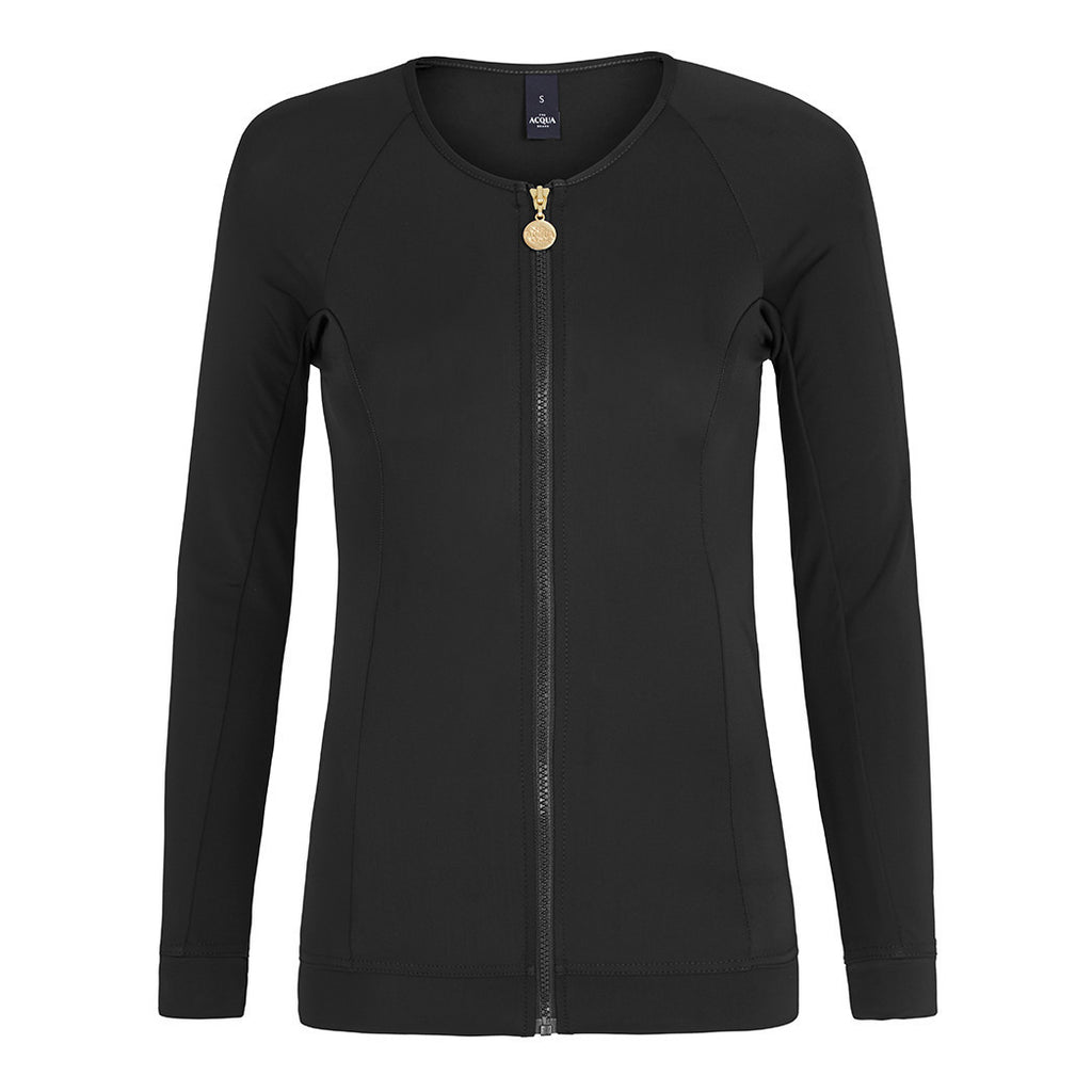 Long Sleeved Zip Rashguard - Black