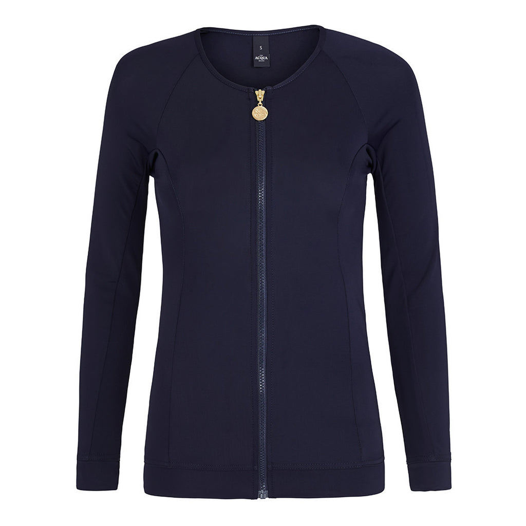 Long Sleeved Zip Rashguard - Navy