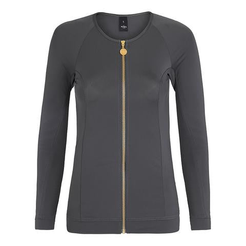 Long Sleeved Zip Rashguard - Titanium