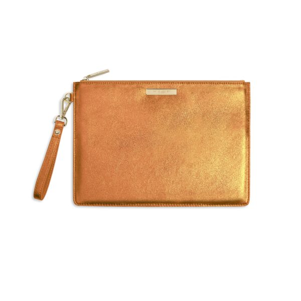 Katie Loxton Luxe Clutch  - Metallic Orange