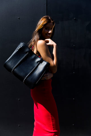 The Freddie Prene Bag - Metallic Black with Black interior PRE ORDER LATE JULY DELIVERY