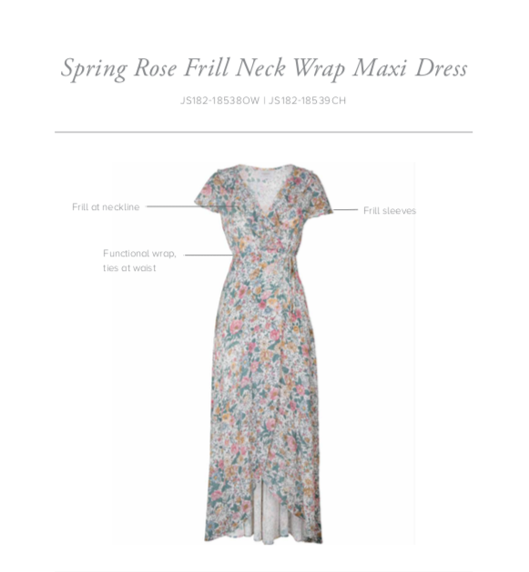 Spring Rose Frill Neck Wrap Dress - Natural