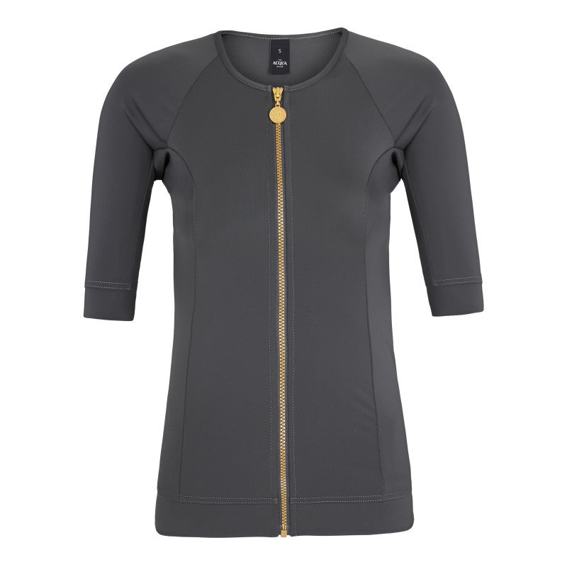 Short Sleeved Zip Rashguard - Titanium