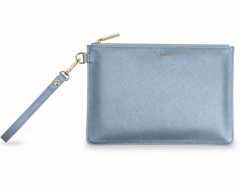 Katie Loxton Blue Perfect Pouch  - 'Be Happy'