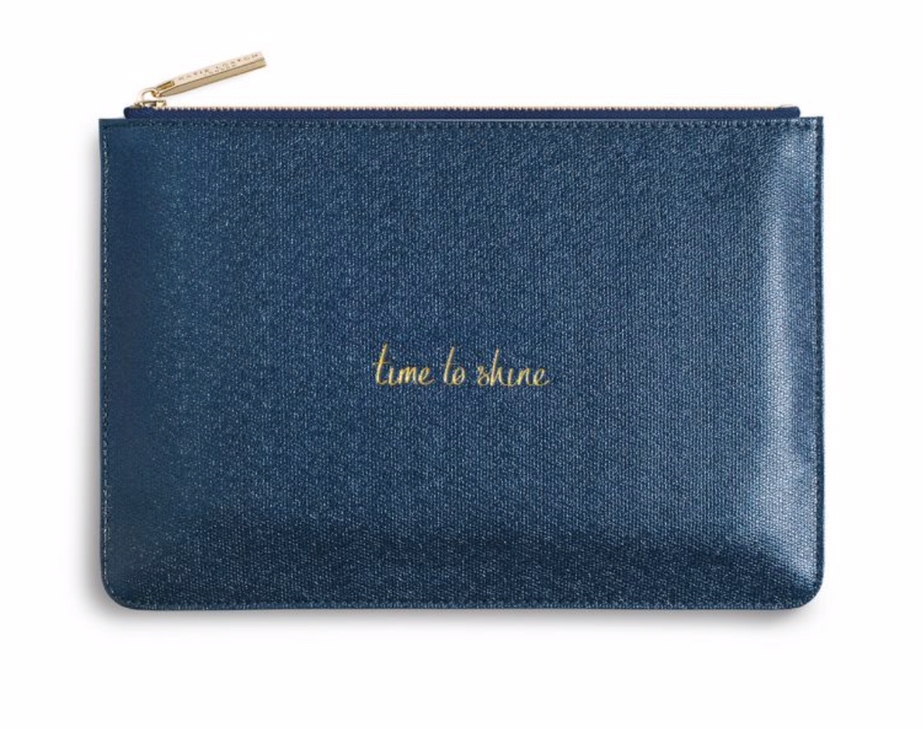 Katie Loxton Metallic Blue Perfect Pouch  - 'Time to Shine'