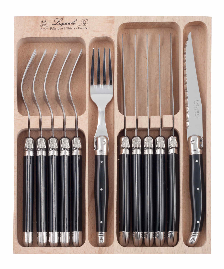 Laguiole 12 piece Cutlery Set - Black