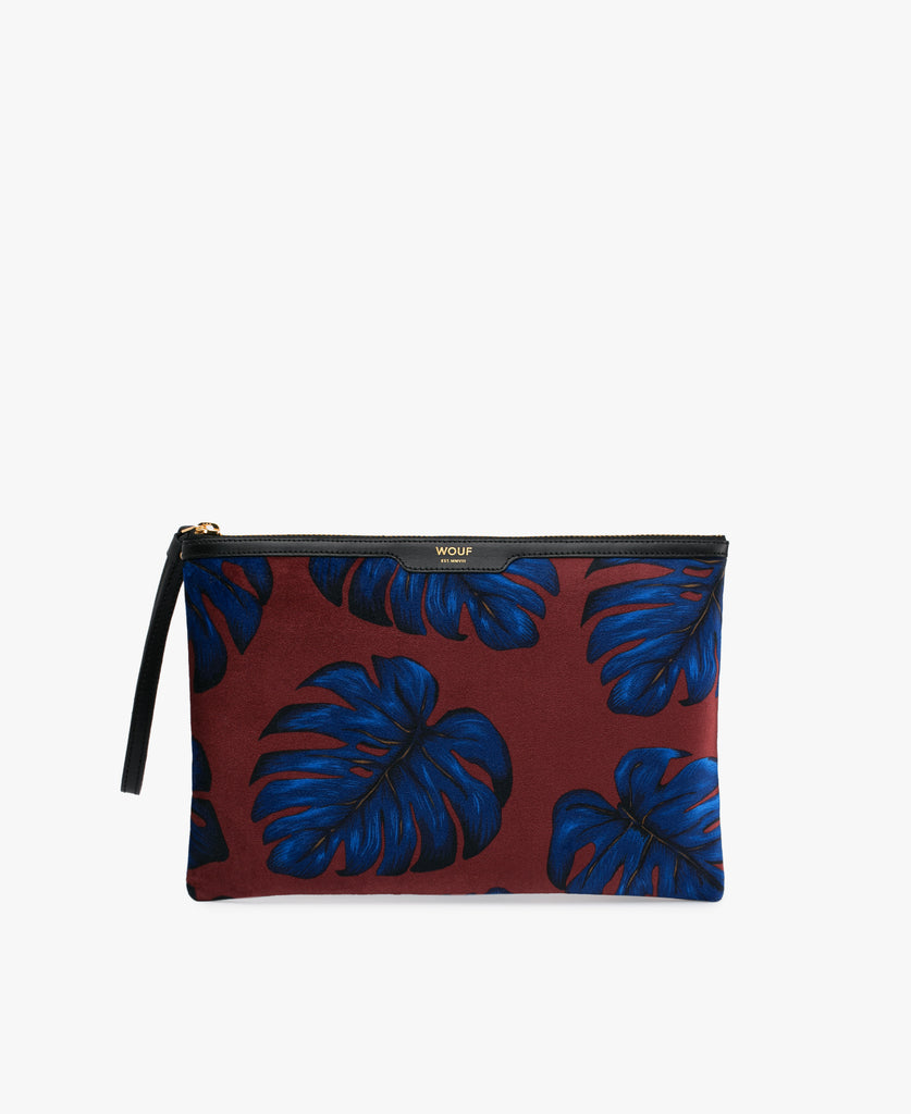 Leaves Velvet Clutch