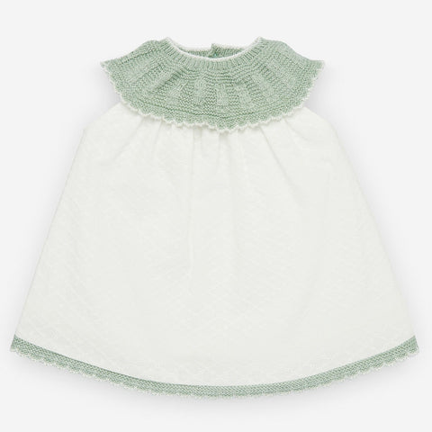 Paz Rodriguez Mint Knit & White Dress