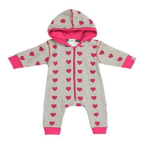 Lilly & Sid Grey & Pink Heart Design Playsuit